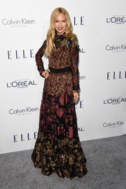 Rachel Zoe chose a paneled, mixed-pattern Lanvin gown in fall shades for her Elle Women in Hollywood Awards look.