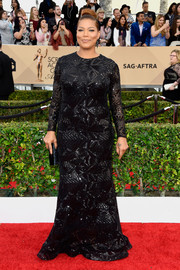 Queen Latifah went for classic glamour in a geometric-sequined black gown by Michael Costello for her SAG Awards look.