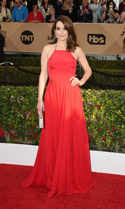 Tina Fey looked princess-y in her red Prabal Gurung fit-and-flare gown at the SAG Awards.