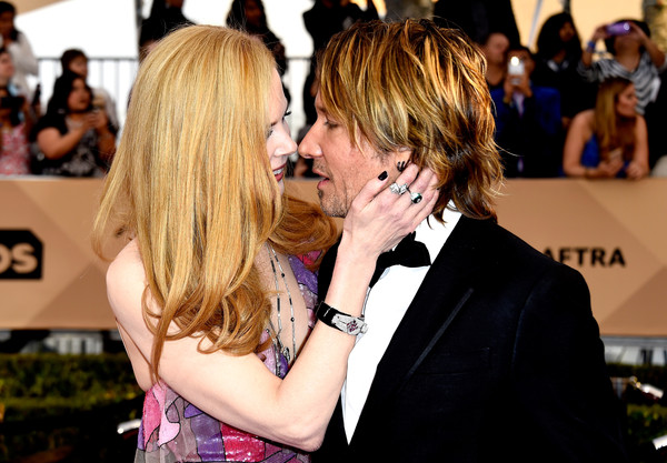 More Pics of Nicole Kidman Novelty Strap Watch (2 of 48) - Novelty Watches Lookbook - StyleBistro [hair,hairstyle,event,premiere,yellow,interaction,red carpet,blond,kiss,carpet,arrivals,nicole kidman,keith urban,screen actors guild awards,california,los angeles,the shrine auditorium]