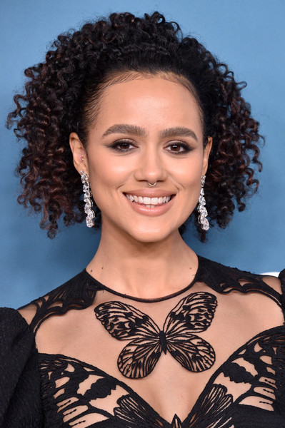 More Pics of Nathalie Emmanuel Dangling Diamond Earrings (1 of 6) - Nathalie Emmanuel Lookbook - StyleBistro [game of thrones,hair,hairstyle,face,eyebrow,shoulder,beauty,black hair,ringlet,lip,long hair,arrivals,nathalie emmanuel,costume designers guild awards,red carpet,hair,costume,hair,hairstyle,cdga,nathalie emmanuel,game of thrones,22nd costume designers guild awards,missandei,costume designers guild,game of thrones - season 6,costume,television,actor,fashion]