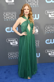 Jessica Chastain gave 'green goddess' a whole new meaning when she wore this Vionnet cutout gown to the 2018 Critics' Choice Awards.