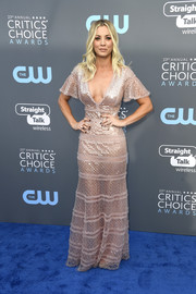 Kaley Cuoco was boho-sexy in a low-cut pink sequin gown by J. Mendel at the 2018 Critics' Choice Awards.