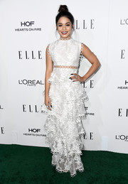 Vanessa Hudgens looked downright darling at the Elle Women in Hollywood Awards in a white Zimmermann maxi dress with a midriff cutout and a tiered skirt.
