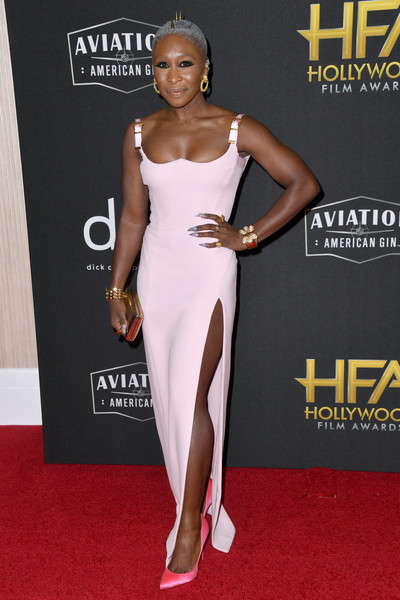 Cynthia Erivo looked foxy in a form-fitting, high-slit pink gown by Versace at the 2019 Hollywood Film Awards.