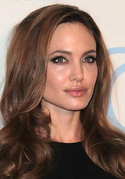 Angelina Jolie wore a touch of shiny lipgloss at the 23rd Annual Producers Guild Awards.