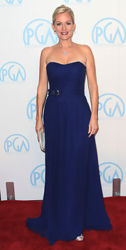 Penelope Ann Miller wore a strapless navy chiffon gown to the Producers Guild Awards.