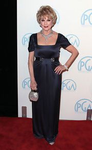 Karen Kramer wore a silk slate blue evening dress to the Producers Guild Awards.