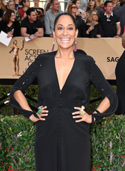 Tracee Ellis Ross piled on the statement rings by Lydia Courteille, L'Dezen, and Yvel Jewelry when she attended the SAG Awards.