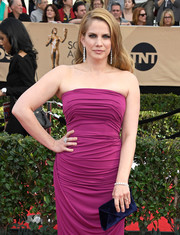 Anna Chlumsky went for a striking color combo with this blue velvet envelope clutch and magenta gown ensemble at the SAG Awards.