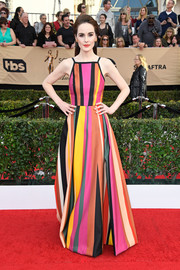 Michelle Dockery brought an explosion of colors to the SAG Awards red carpet with this striped gown by Elie Saab.