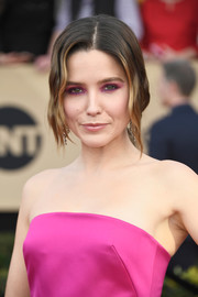 Sophia Bush attended the SAG Awards wearing her hair in a loose, low ponytail with wavy tendrils hanging down both sides of her face.