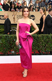 Sophia Bush went the ultra-feminine route in a strapless, rosette-embellished fuchsia dress by Marchesa at the SAG Awards.