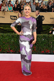 Busy Philipps looked downright fab in a colorful camo sequin gown by Jeffrey Dodd at the SAG Awards.
