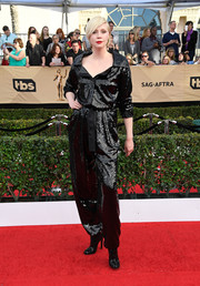 Gwendoline Christie looked effortlessly cool and glam in a black sequin jumpsuit by Vivienne Westwood Couture at the SAG Awards.