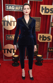 Evan Rachel Wood stuck to her signature menswear-chic style with this blue velvet pantsuit by Altuzarra when she attended the SAG Awards.