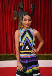 Yara Shahidi teamed a beaded oval clutch by Onna Ehrlich with a multicolored sequin dress for the SAG Awards.