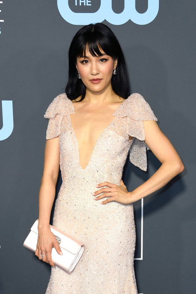 More Pics of Constance Wu Long Straight Cut with Bangs (3 of 5) - Constance Wu Lookbook - StyleBistro [fashion model,clothing,dress,hairstyle,shoulder,cocktail dress,beauty,fashion,lady,premiere,arrivals,constance wu,critics choice awards,santa monica,california,barker hangar]