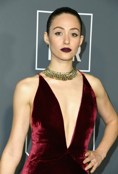 More Pics of Emmy Rossum Dark Lipstick (3 of 12) - Makeup Lookbook - StyleBistro [clothing,shoulder,dress,fashion model,beauty,fashion,lip,cocktail dress,hairstyle,model,arrivals,emmy rossum,critics choice awards,santa monica,california,barker hangar]