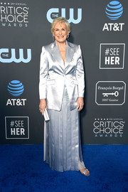 Glenn Close donned an ice-blue maxi skirt suit by Gabriela Hearst for the 2019 Critics' Choice Awards.