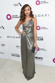 Ashley Madekwe looked divine in a silver lame one-shoulder gown during the Elton John AIDS Foundation Oscar viewing party.