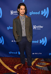 Avan Jorgia opted for this patchwork tweed blazer for his funky red carpet look at the GLAAD Media Awards.