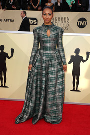 Betty Gabriel rocked a Victorian-meets-modern plaid ball gown by Phuong My at the 2018 SAG Awards.