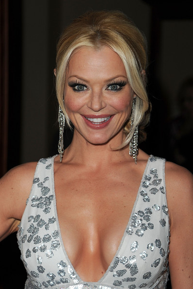 Charlotte Ross gave her glamorous look a boost with fluttering false lashes.