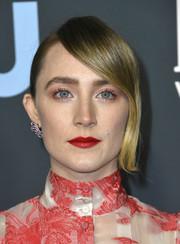 Saoirse Ronan styled her hair into a side-parted ponytail for the 2020 Critics' Choice Awards.