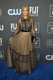 Molly Sims looked sweet and demure in a polka dot-embroidered gown by Teresa Helbig at the 2020 Critics' Choice Awards.