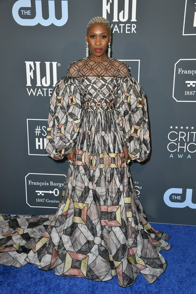 Cynthia Erivo was a graphic explosion in a voluminous geometric-print gown by Fendi Couture at the 2020 Critics' Choice Awards.