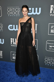 Phoebe Waller-Bridge showed off her daring side with this sheer black one-shoulder gown by Dior Couture at the 2020 Critics' Choice Awards.