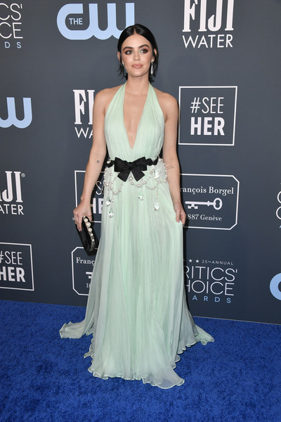 Lucy Hale hit the 2020 Critics' Choice Awards wearing a mint-green Miu Miu halter gown with a bowed and beaded waist.