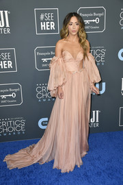 Chloe Bennet looked like a princess in a blush off-the-shoulder gown by Yanina Couture at the 2020 Critics' Choice Awards.