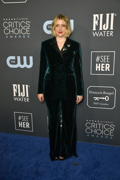 Greta Gerwig chose a dark green velvet pantsuit by Alberta Ferretti Limited Edition for her 2020 Critics' Choice Awards look.