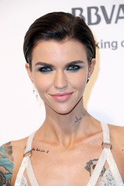 Ruby Rose wore her short hair gelled back when she attended the Elton John AIDS Foundation Oscar-viewing party.