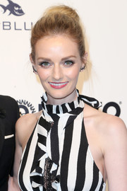 Lydia Hearst swept her locks back into a loose bun for the Elton John AIDS Foundation Oscar-viewing party.