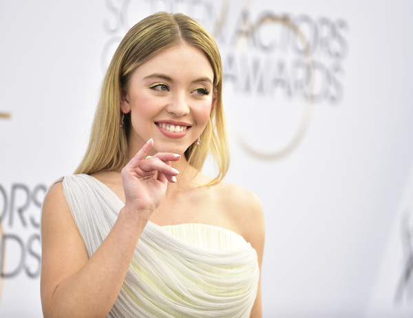 More Pics of Sydney Sweeney Evening Sandals (1 of 7) - Heels Lookbook - StyleBistro [hair,face,skin,facial expression,beauty,shoulder,lip,nose,eyebrow,blond,arrivals,sydney sweeney,los angeles,california,the shrine auditorium,screen actors guild awards]
