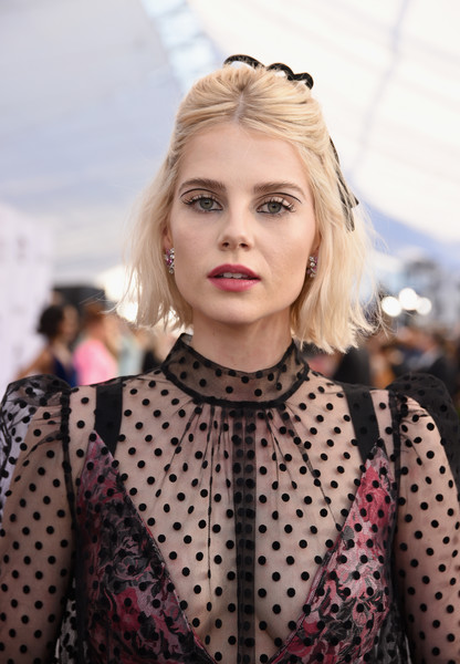 More Pics of Lucy Boynton Half Up Half Down (2 of 4) - Lucy Boynton Lookbook - StyleBistro [red carpet,hair,face,blond,hairstyle,polka dot,beauty,lip,fashion,eyebrow,lady,lucy boynton,screen actors guild awards,screen actors\u00e2 guild awards,california,los angeles,the shrine auditorium]