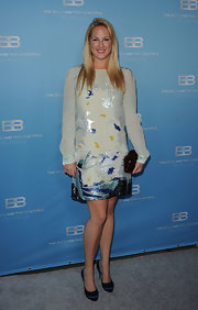 Theodora Greece wore this shimmering sequined cocktail dress with an ocean motif to CBS' 'The Bold and the Beautiful' party.