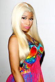 Nicki Minaj's vibrant bottle-blond tresses shined even brighter against a colorful backdrop.