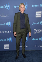 Ellen DeGeneres teamed a forest-green suit with a navy button-down for her GLAAD Media Awards look.