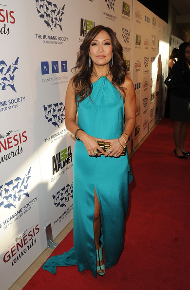 Carrie Ann Inaba wore this silk aqua dress with a hip-high slit to the Genesis Awards in Beverly Hills.