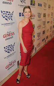 Ali Hillis wore this red cocktail dress with bowed heels at the Genesis Awards.