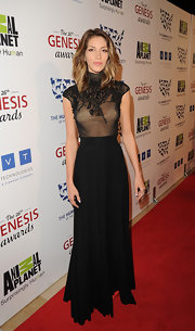 Dawn Olivieri wore this elegant high-necked dress to the Genesis Awards.