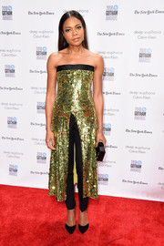 Naomie Harris brought plenty of sparkle to the Gotham Independent Film Awards with this long, sequined strapless top with a split front.