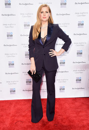 Amy Adams went the menswear-chic route with this navy Max Mara pantsuit when she attended the Gotham Independent Film Awards.