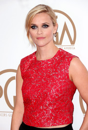 Reese Witherspoon wore her hair up leaving her bangs swept to one side.