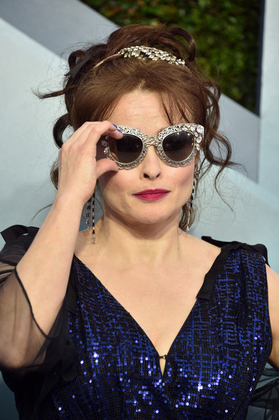 More Pics of Helena Bonham Carter Messy Updo (1 of 12) - Helena Bonham Carter Lookbook - StyleBistro [eyewear,hair,sunglasses,glasses,hairstyle,cool,vision care,headband,lip,headgear,arrivals,helena bonham carter,screen actors guild awards,screen actors\u00e2 guild awards,los angeles,california,the shrine auditorium,helena bonham carter,shrine auditorium and expo hall,screen actors guild award ceremony,stock photography,the crown,celebrity,image,photography]