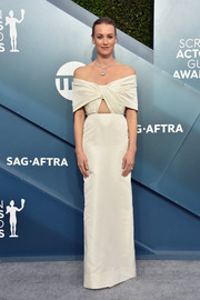 Yvonne Strahovski chose an ivory off-the-shoulder cutout gown by Khyeli for the 2020 SAG Awards.